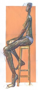 gouache and pastel figure drawing