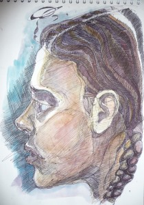 portrait sketch gel pen and watercolour
