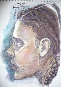 portrait sketch gel pen and watercolour