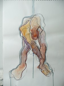 charcoal and watercolour life drawing