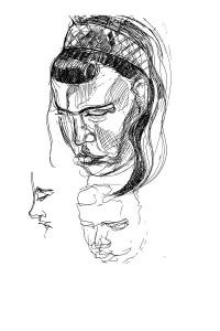 gel pen portrait sketches
