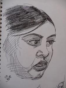 gel pen portrait sketch