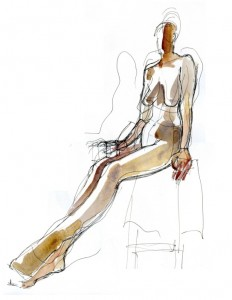 pen and wash figure drawing