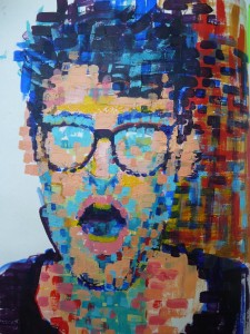 self portrait acrylic paint