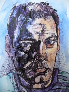 self portrait biro and watercolour