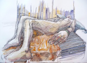 reclining figure pen and wash drawing