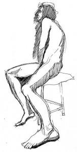 gel pen drawing seated man