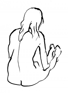 drawing back view indian ink