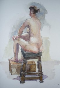 watercolour drawing seated figure back view