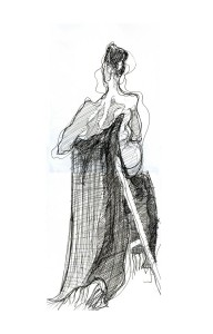 seated figure back view with drape
