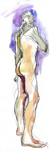 figure drawing pen and watercolour