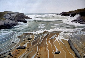 watercolour Anglesey beach